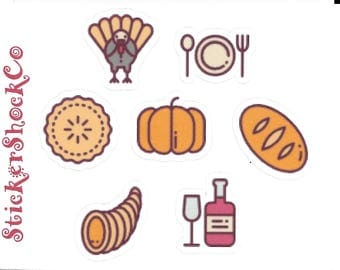 Thanksgiving Sample Planner Stickers, Fall Stickers, Turkey Stickers, Autumn Stickers, Set of 7
