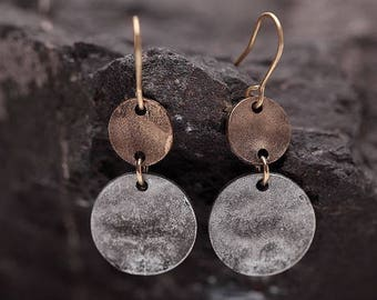 Round Antique Silver earrings