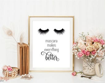 Makeup print, eyelash print, mascara print, beauty print, makeup art, fashion decor, Mascara makes everything better, mascara art print
