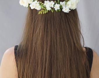 Flower crown wedding, white flower crown, bridal flower headpiece, greenery crown, floral crown, flower headband