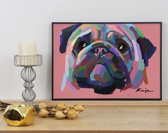 Pug 'I'm Hungry' Digital Oil Graphic Print