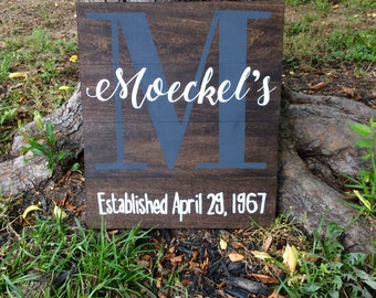Personalized Family Established Wood Sign - Last Name and Initial Monogram name sign with family established date