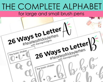 26 Ways to Letter the Complete Alphabet, Hand Lettering practice sheets, brush lettering, lettering  practice, lettering style