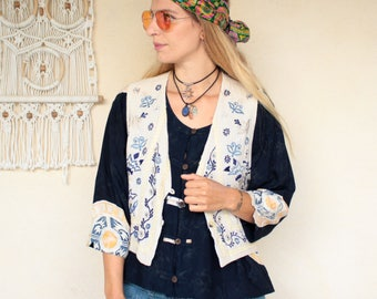 Vintage 70's Embroidered Floral Waistcoat