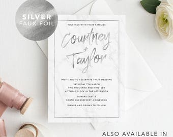 Printable Modern Wedding Invitation Marble and Silver Foil/ RSVP/ Save the date/ Thank you card/ PDF/ Download/ Custom/ Courtney suite #070