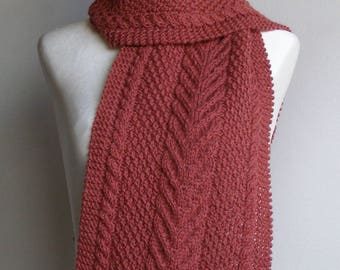 Cinnamon Pure Wool Hand Knitted Cable & Moss Stitch Scarf - 'Miranda'.