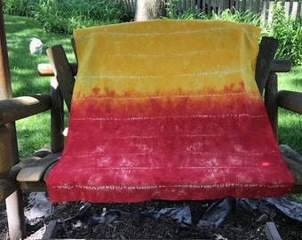 Red and Yellow Ombre Hand Dyed Fabric, Tie Dye Cotton Fabric, Shibori Fabric