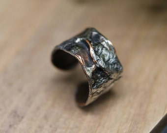Reticulated Sterling Silver over Air Chased Textured Copper Adjustable Ring