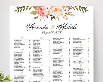 Wedding Seating Chart Poster, Wedding seating chart alphabetical, Wedding Seating Chart, Printable Wedding Seating Chart - US_WC0101a