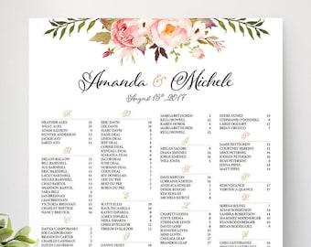 Wedding Seating Chart Poster, Wedding seating chart alphabetical, Wedding Seating Chart, Printable Wedding Seating Chart - US_WC0101a