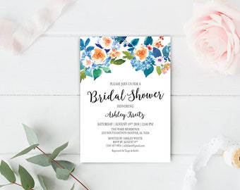 Watercolor Bridal Shower invitation, Bridal shower invitation, Rustic bridal shower invitation, Floral Bridal Shower - US_BI1503
