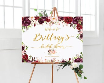 Bridal Shower Welcome Sign, Bridal Shower sign, Bridal Shower decoration, welcome wedding sign, Marsala, burgundy Bridal Shower sign