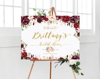 Bridal Shower Welcome Sign, Bridal Shower sign, Bridal Shower decoration, welcome wedding sign, Marsala, burgundy Bridal Shower sign