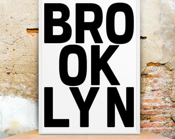 Brooklyn, Large Wall Art, New York Poster, Typography Art, New York Print, Digital Print, New York Art, Brooklyn Printable, Brooklyn Poster