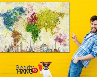 Home decor, World Map, Colorful world map, World map canvas, World Map wall art, Abstract world map, Map of the World, Canvas World Map