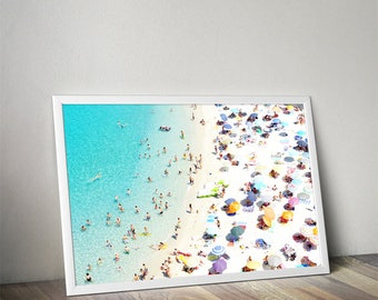 Aerial Beach with people photography, Beach print, Landscape print,