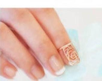 Golden plated fingernail ring, midi ring