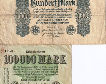 2 pc. lot vintage Germany reishbanknote 100 mark 1922 P#75 and 100 000 mark 1923 old banknote note