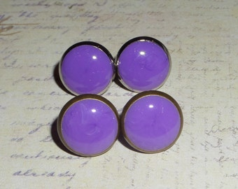 Antique Bronze or Silver and Purple Stud Post Earrings