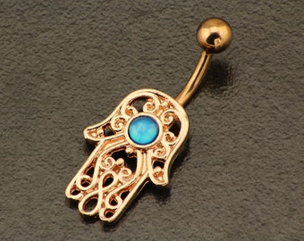 Opal Belly Button Ring. Rose Gold Belly Ring. Boho Hamsa Piercing. Hand Belly Button Jewelry. Bohemian Body Jewellery. Unique Belly Bar.