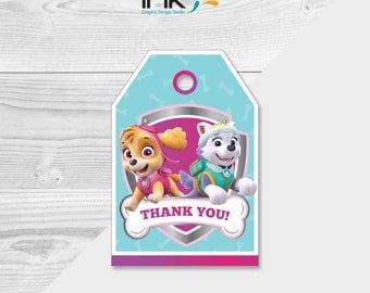 Pink Paw Patrol Thank You Tags - Instant Download - Printable - Pink Paw Patrol Party -  Pink Paw Patrol Birthday