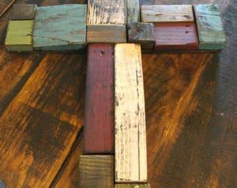 Multi Colored Wood Block Cross