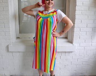 FREE SHIPPING: Vintage 1970s Rainbow Stripe Terrycloth Cover Up Dress