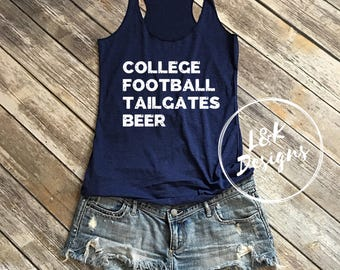 College Football Tailgates Beer Tank Top / Football tank top / Game Day Shirt / College Sports Tank Top