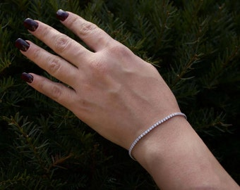 Sterling Silver Cubic Zerconia Chain Bracelet