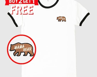 Mama Bear Embroidered Ringer T-Shirt by 24PlanetsStudio
