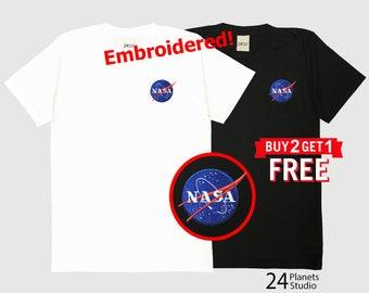 NASA Embroidered T-Shirt by 24PlanetsStudio Pocket Tshirt Tumblr Tee Women Men Unisex NASA Shirt NASA Tee