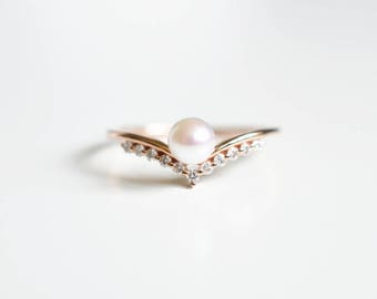 Pearl Engagement Ring Akoya Pearl Ring Pearl Wedding Ring 18K Gold Pearl Engagement Ring 14K Rose Gold Pearl Ring Diamond Pearl Ring