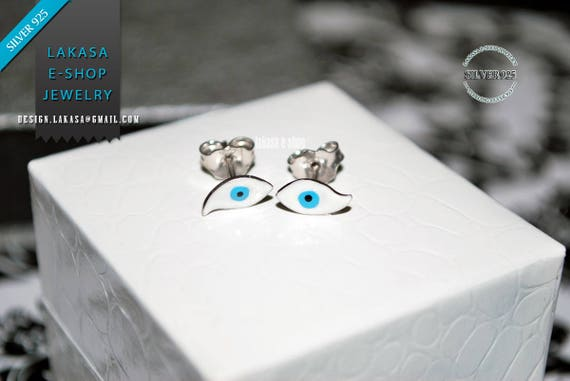 Enamel Eye Stud Earrings Sterling Silver Handmade Jewelry white Gold plated Girl Woman Kids Collection Birthday Girlfriend Summer Minimalist