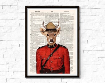 Royal Canadian Mounted Deer, Royal Canadian Mounted Police, Deer, page book art print, Wall art