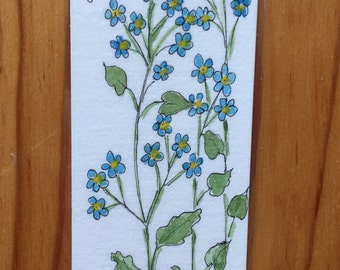 An Original Pen and Ink and Watercolor, Forget Me Nots with Scripture
