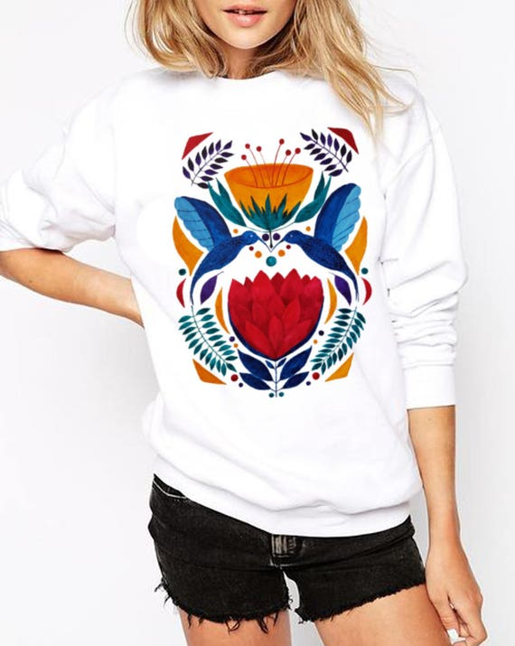 Love Birds |  Unisex Heavy Blend Crewneck Sweatshirt | Graphic Sweatshirt | Watercolor kissing hummingbirds | Ethnic art | ZuskaArt