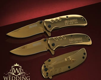 10 Groomsmen Pocket knife set - 10 Personalized Best Man & Usher gift set - Wedding and Birthday gift - Bridesmaid gift set of 10