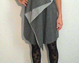 Gray and black viscose dress
