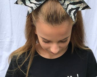 Silver and Black Cheer Bow