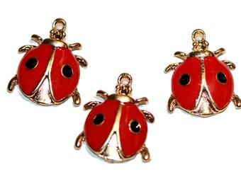 Ladybug Charms Gold Tone Ladybug Pendant Red Enamel Ladybug Charm Lady Bug Charm Bracelet Charms 3 Pieces