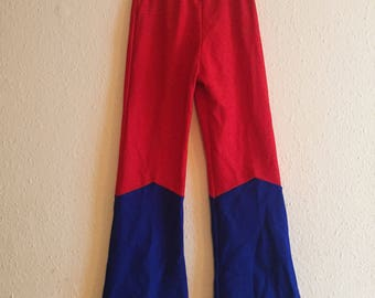 Vintage Kids 1970s Stretch Polyester Blue and Red Flares Trousers 8-9y