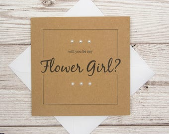 Flower Girl Wedding Card, Will You Be My Flower Girl?, 4x4 Brown Card, Wedding Party Invitation Card, Flower Girl Proposal Card