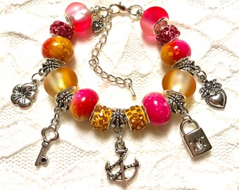 Pink and Yellow, European Style Charm Bracelet