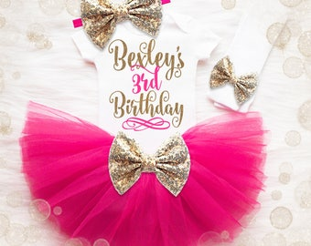 Personalized 3rd Birthday Outfit | Pink And Gold 3rd Birthday Tutu Set | 3rd Birthday Shirt | 3rd Birthday Outfit | Birthday Tutu Set