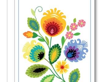 Polish Folk Design Greeting Card BP26