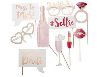 Bachelorette Party Photobooth Props for Bridal Shower | Physical, Bride to Be, Miss to Mrs, Team Bride, Bride to Be, Stagette, Hen Party