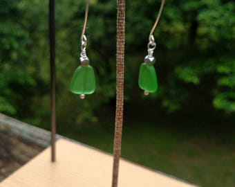 Bottle Green Seaglass and Argentium Silver Drop Earrings - With Hand Crafted Earwires and Headpins