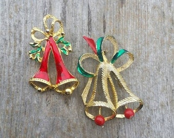 Set of Christmas Bell Brooches