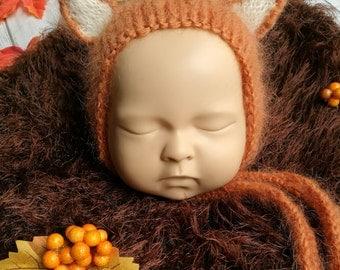 Baby Fox bonnet.  Newborn Photography Prop.  Fox hat.  Handmade clothes