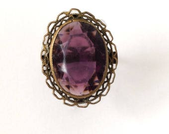 Vintage 1970's Purple Oval Statement Flower Ring